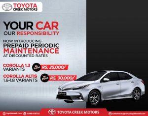 Toyota Creek Motors introducing prepaid periodic maintenance at discounted rates